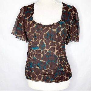 Nanette Lepore Brown Silk Scoop Neck Fitted Top
